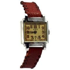 Original Art Deco Gents Wrist Watch by Lov/ Never Worn, circa 1930