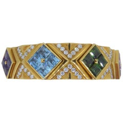 Bulgari 18 Carat Yellow Gold Multi-Gem and Diamond Carré Bracelet Bangle