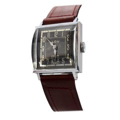 Original Art Deco Gents Wrist Watch by Lov or Never Worn, circa 1930