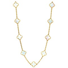 Van Cleef & Arpels Alhambra Mother of Pearl Yellow Gold 20-Motif Necklace