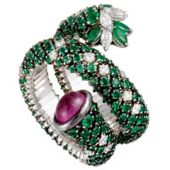 Stefan Hafner Full Diamond and Emerald, Pink Sapphire Cabochon White Gold Ring