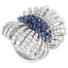 Stefan Hafner Diamond and Sapphire Pave White Gold Bow Ring