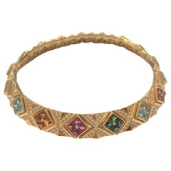 Bulgari 18 Carat Yellow Gold Multi-Gem and Diamond Carré Choker Necklace