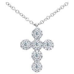 14 Karat White Gold Diamond Cross Pendant 0.25 Carat