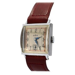 Stylish Art Deco Gents Wrist Watch by Lov or Never Worn, circa 1930