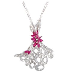Stefan Hafner Full Diamond and Ruby Flowers White Gold Pendant Necklace