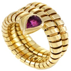 Bulgari Tubogas Pink Tourmaline Yellow Gold Snake Ring