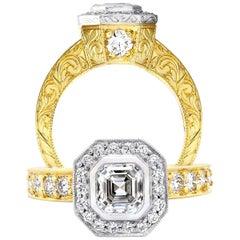 1 Carat GIA Asscher Cut Diamond Engagement 18 Karat Yellow Gold