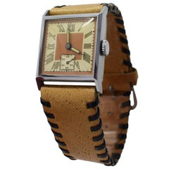 Stylish Art Deco Gents Wrist Watch Old Stock Never Worn, circa 1930