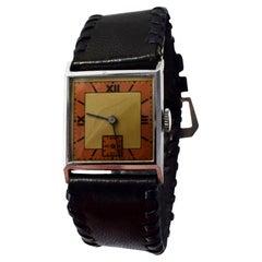 Stylish Art Deco Gents Wristwatch Old Stock Never Worn, circa 1930