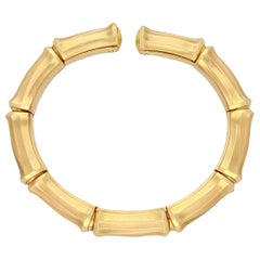 Cartier Yellow Gold Bamboo Cuff Bangle Bracelet