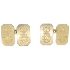 King Paul of Greece 18 Carat Yellow Gold Presentation Panel Cufflinks