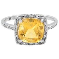 14 Karat White Gold Citrine Diamond 0.15 Carat Ring