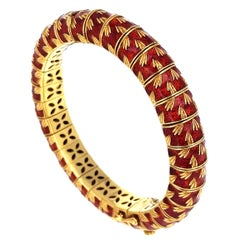 Frascarolo 1960's Italian Enamel Gold Bangle Bracelet