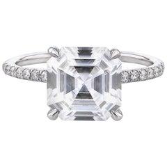2 Carat GIA Asscher Cut Diamond Engagement Platinum 950 Ring