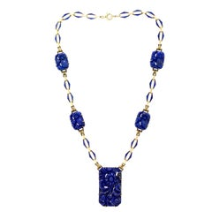 Alluring Art Deco Carved Lapis, Blue Enamel and 14 Karat Yellow Gold Necklace