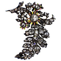 GEMOLITHOS Antique Silver and Gold Diamond Enamel Brooch