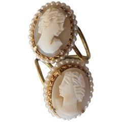 Antiques Victorian Cameo Bronze and Pearls Ring