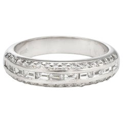 Estate Mixed Cut Diamond Band Platinum 0.59 Carat Wedding Stacking Ring