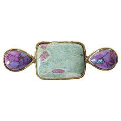 Amazzonite Turquoise Drop Bronze Broche
