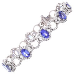 7.56 Carat Total Oval Tanzanite and Diamond Bracelet in 18 Karat White Gold