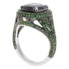 GIA Certified 6.13 Carat Cushion Cut Black Diamond and Emerald Cocktail Ring
