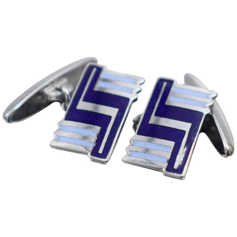 Art Deco Men's Silver and Enamel Cufflinks For Sale