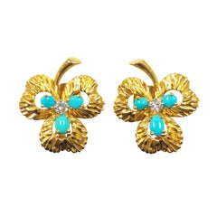 Van Cleef & Arpels France Gold Diamond and Turquoise Clover Leaf Earrings