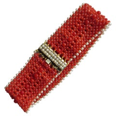 Woven Coral and Pearl Bracelet with a Pearl and 14 Karat Gold and Pearl Clasp