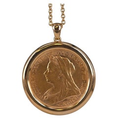 Victorian Gold Sovereign Pendant and Chain