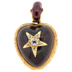 Antique Victorian 18 Karat Gold Cabochon Garnet Diamond Heart Pendant