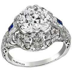 Vintage GIA 2.76 Carat Old Euro Diamond Engagement Ring