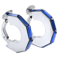 Dior Silver Tone Hardware with Blue Crystal Clip-On Earrings