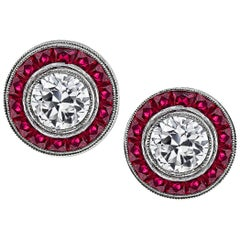 Diamond Ruby Platinum Halo Earrings