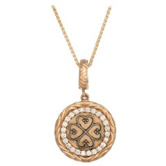 Estate Diamond Heart Pendant Necklace Four Leaf Clover 18k Gold Vintage Jewelry