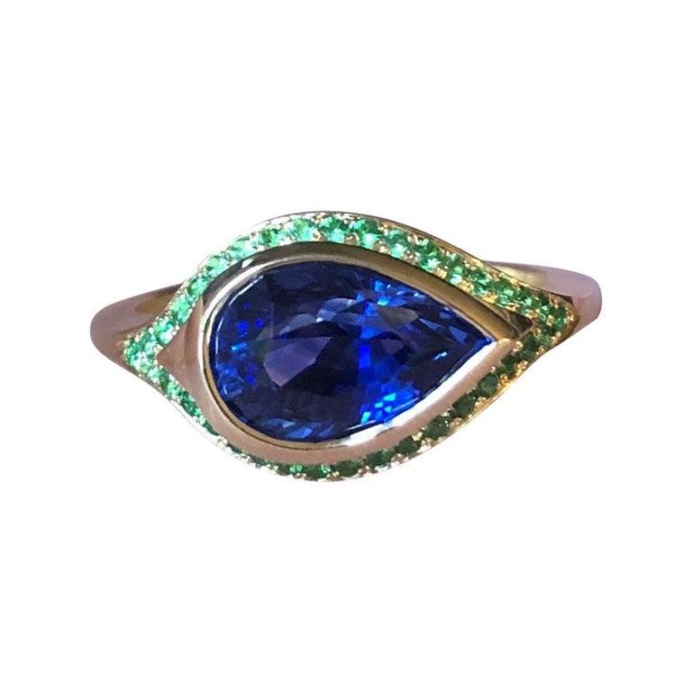 2.79 Carat Ceylon Sapphire and Tsavorite Engagement Ring For Sale