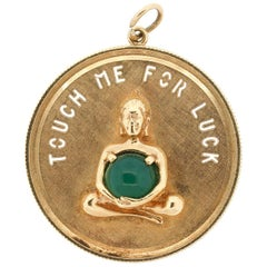 """Vintage 14 Karat Gold Round Disk Charm """"Touch Me For Luck"""""""