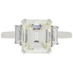 5.02 Carat Emerald Cut Diamond Engagement Ring