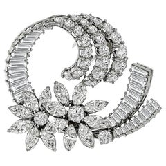 French Diamond Platinum Floral Pin or Pendant