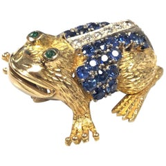 Vintage Yellow Gold and Gem Set Large Whimsical Frog Brooch