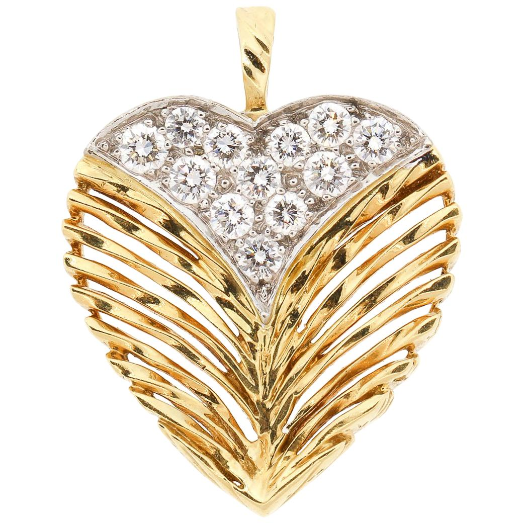 Vintage 18 Karat Gold Diamond Textured Heart Pendant by Kutchkinsky