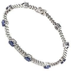 Sapphire and Diamond Line Bracelet 4.75 Carat
