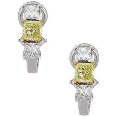 White and Fancy Yellow Radiant Cut Diamond Earrings