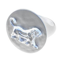 Sterling Persepolis Lion Signet Ring