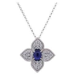 Roberto Coin Diamond and Sapphire Princess Flower Pendant Necklace