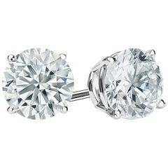 3 Carat Round Brilliant Cut Diamond Stud Earrings 18 Karat White Gold Setting
