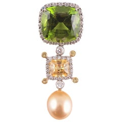 Samuel Getz Platinum Yellow Gold Peridot South Sea Pearl Diamond Necklace