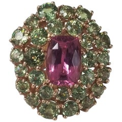 14 Karat Rose Pink Spinel and Demantoid with Diamond Edge Ring