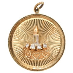 Vintage 14 Karat Gold Diamond Birthday Cake Round Disc Charm