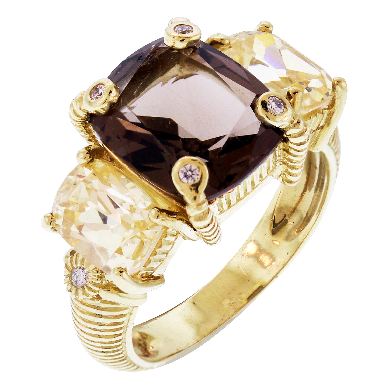 Judith Ripka Smokey Topaz Yellow Quartz Diamond Gold Ring